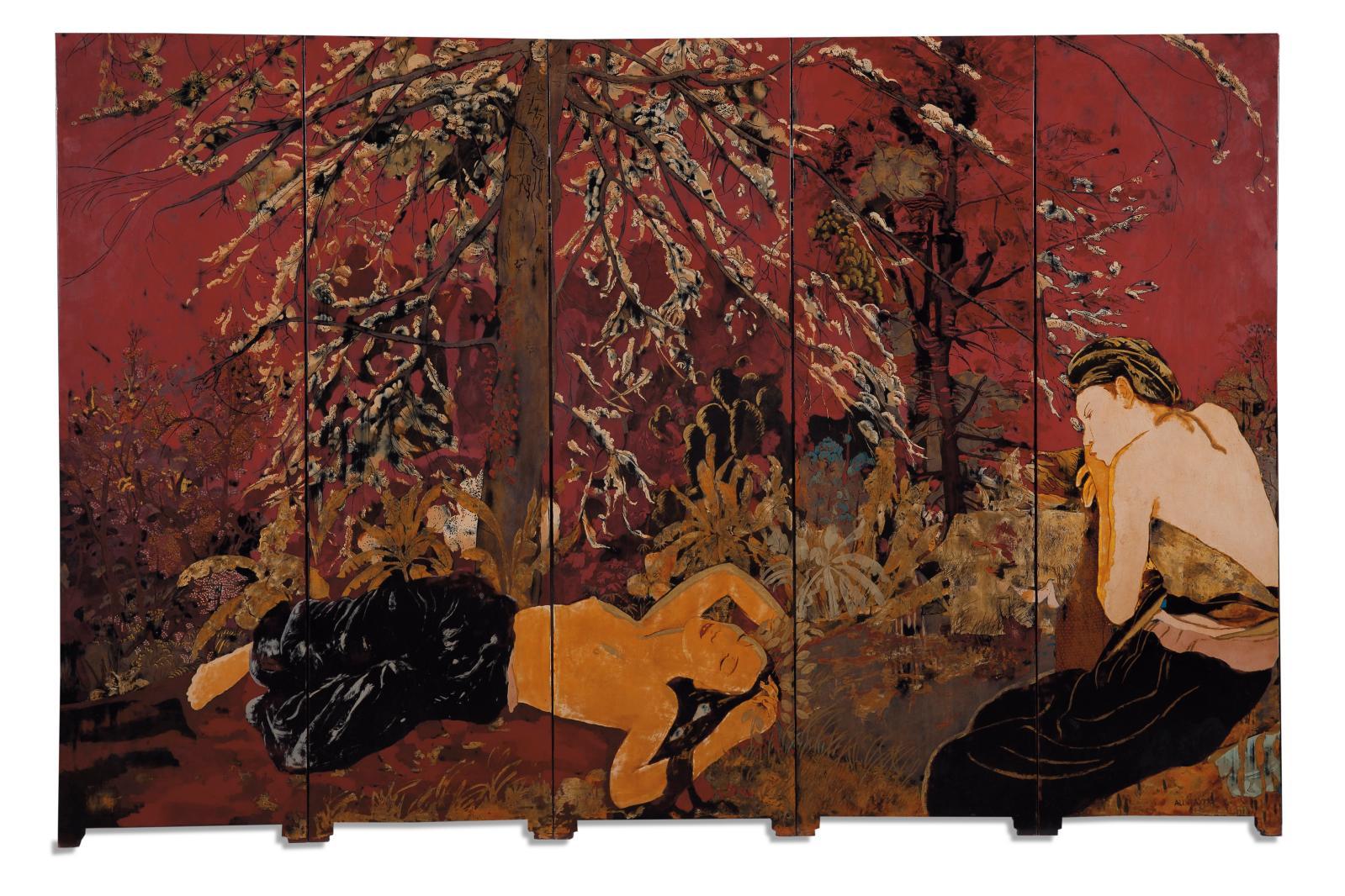 Alix Aymé(1894-1989), Femmes alanguies, paravent en laque, 102x157cm (détail). Adjugé: 182000€