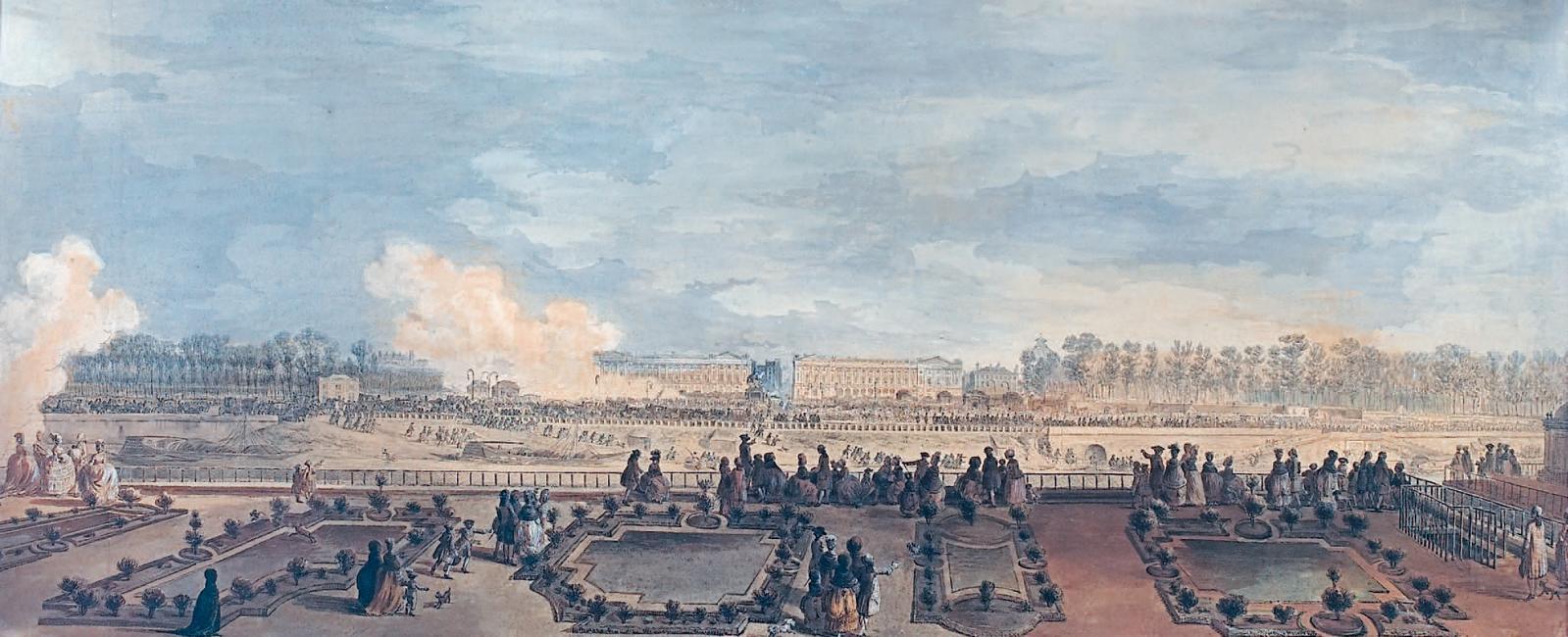 Jean-Michel Moreau le Jeune (1741-1814), Passage de Marie-Antoinette place Louis XV à l'occasion de la naissance du Dauphin, aquarelle. 45 x 103,5 cm.