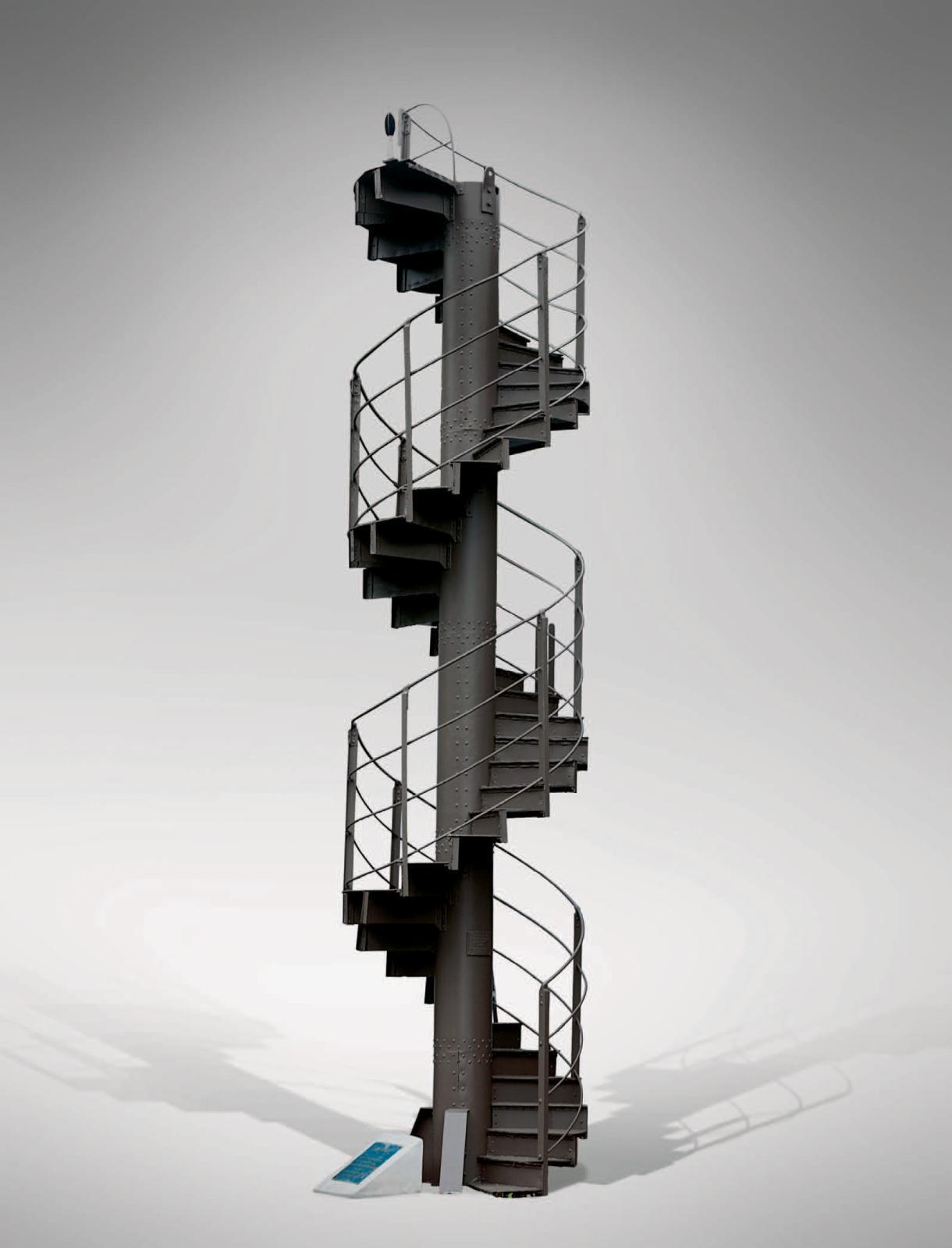 Gustave Eiffel (1832-1923), élément no16 de l'escalier hélicoïdal d'origine de la tour Eiffel en fer peint comprenant quarante marches, garde-corps c