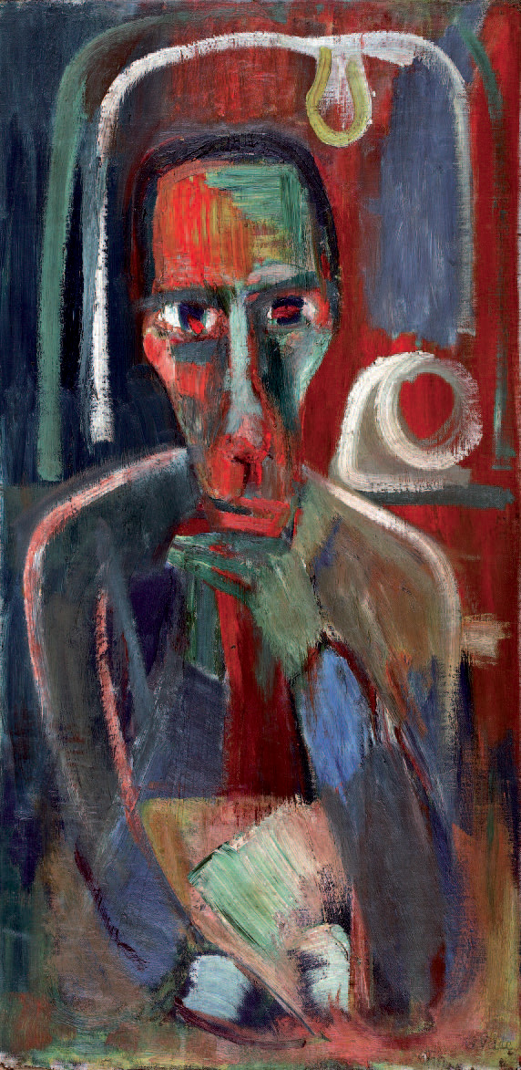 Bram Van Velde (1895-1981), Autoportrait, huile sur toile de 1922-1924, 98 x 48 cm.Paris, Drouot-Richelieu, 9 octobre 2006.Lombrail - Teucquam SVV.35