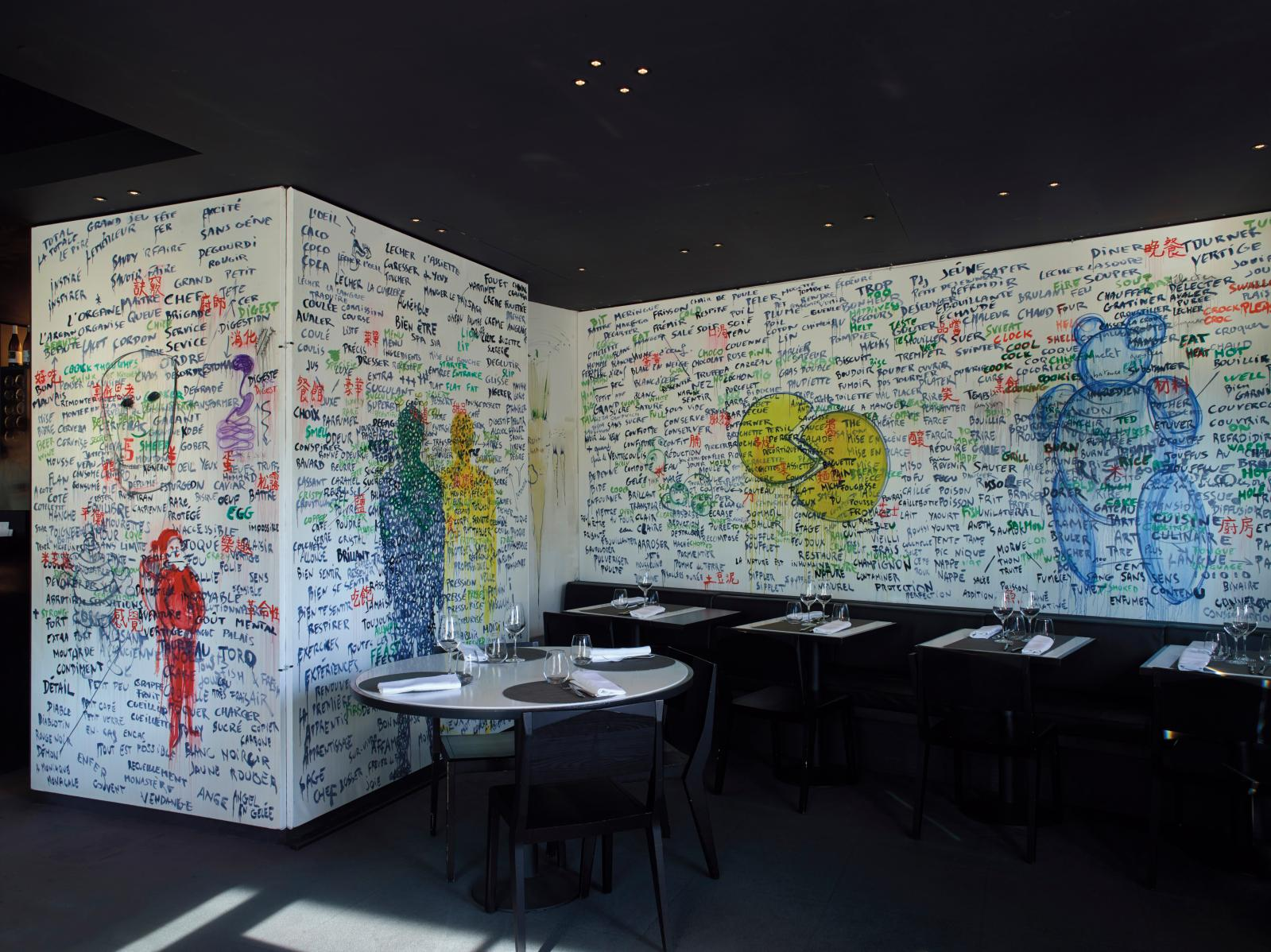 Menu-Mental, par Fabrice Hyber (né en 1961), au restaurant Les Bouquinistes.