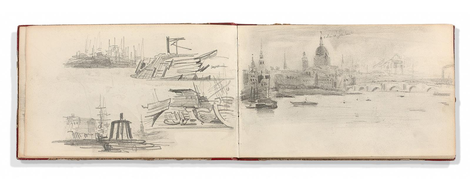 "Eugène Delacroix (1798-1863), ""Album d'Angleterre: vues de Londres, de la Tamise, de Greenwich"", studies of the Parthenon friezes, study of horses, dr"