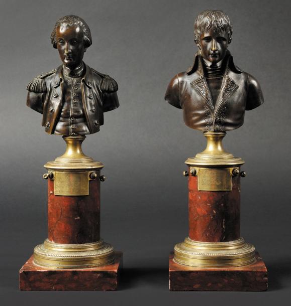 20000€ École française, Le Général Bonaparte et le Général Washington, paire de bustes en bronze sur piédouches en laiton, vers 1797-1798, h.28cm.