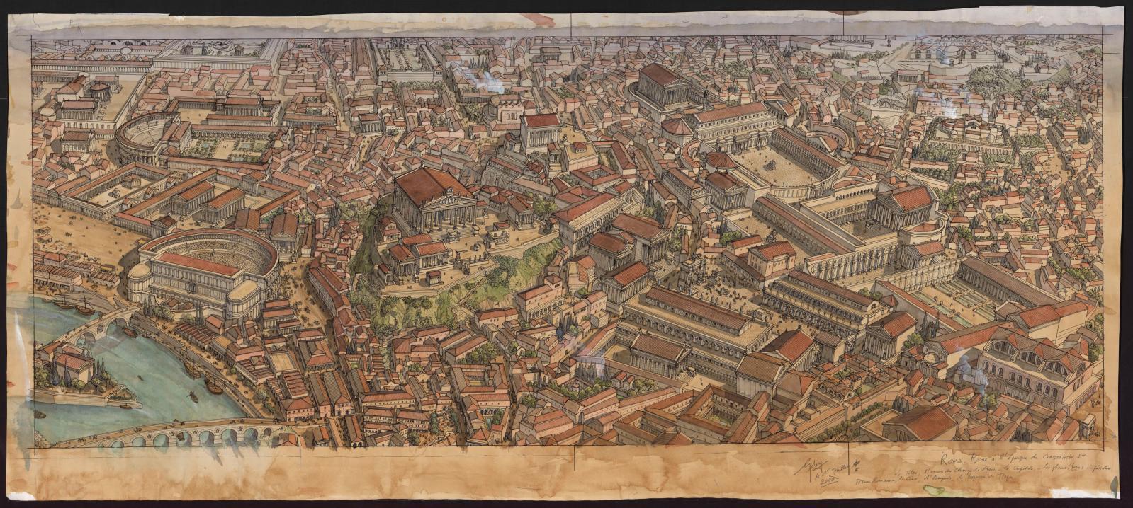 Restitution de la ville de Rome avec le théâtre de Marcellus (à droite).