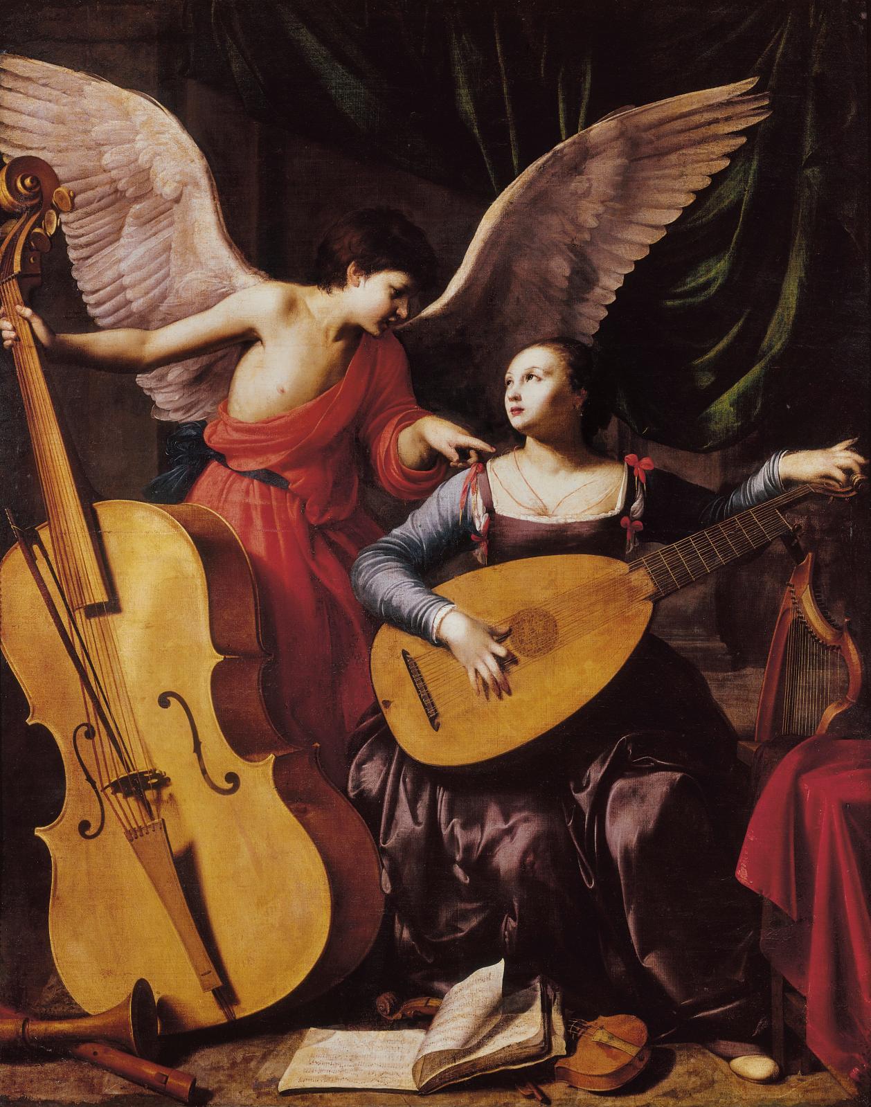 Carlo Saraceni (1579-1620), Sainte Cécile et l'ange, vers 1610, huile sur toile, 172x139cm, Rome, Galleria nazionale d'arte antica.