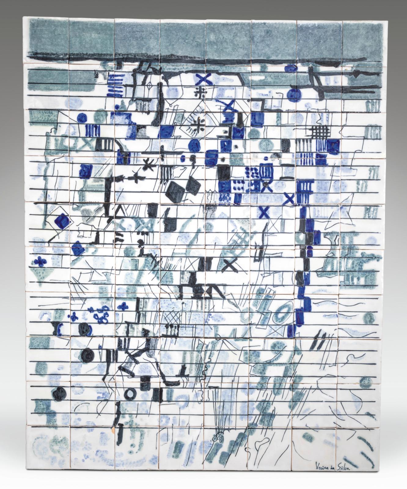 Maria Helena Vieira da Silva (1908-1992), Composition abstraite, panneau d'azulejos, 140x112cm. Estimation: 20000/30000€