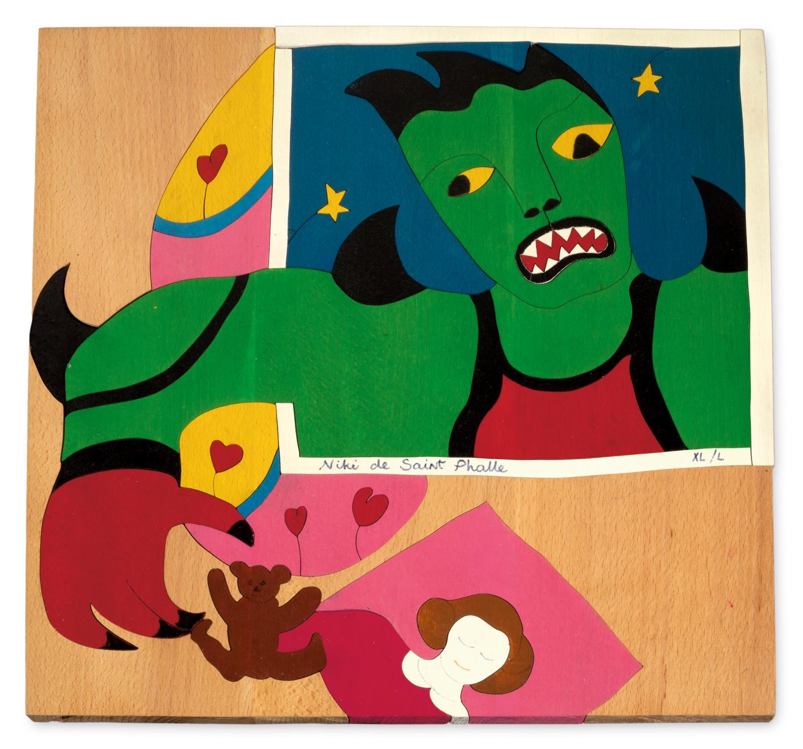 Niki de Saint Phalle (1930-2002), Méchant méchant, puzzle en bois, signé et justifié XL sur L, 43x41cm. Estimation: 800/1200€