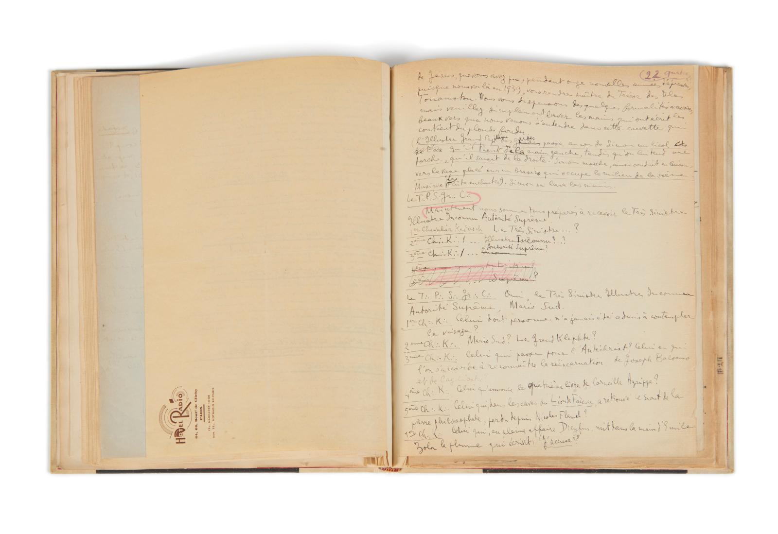 André Breton (1896-1966), Louis Aragon (1897-1982), Le Trésor des jésuites pièce surréaliste en trois tableaux et un prologue, manuscrit autographe, t