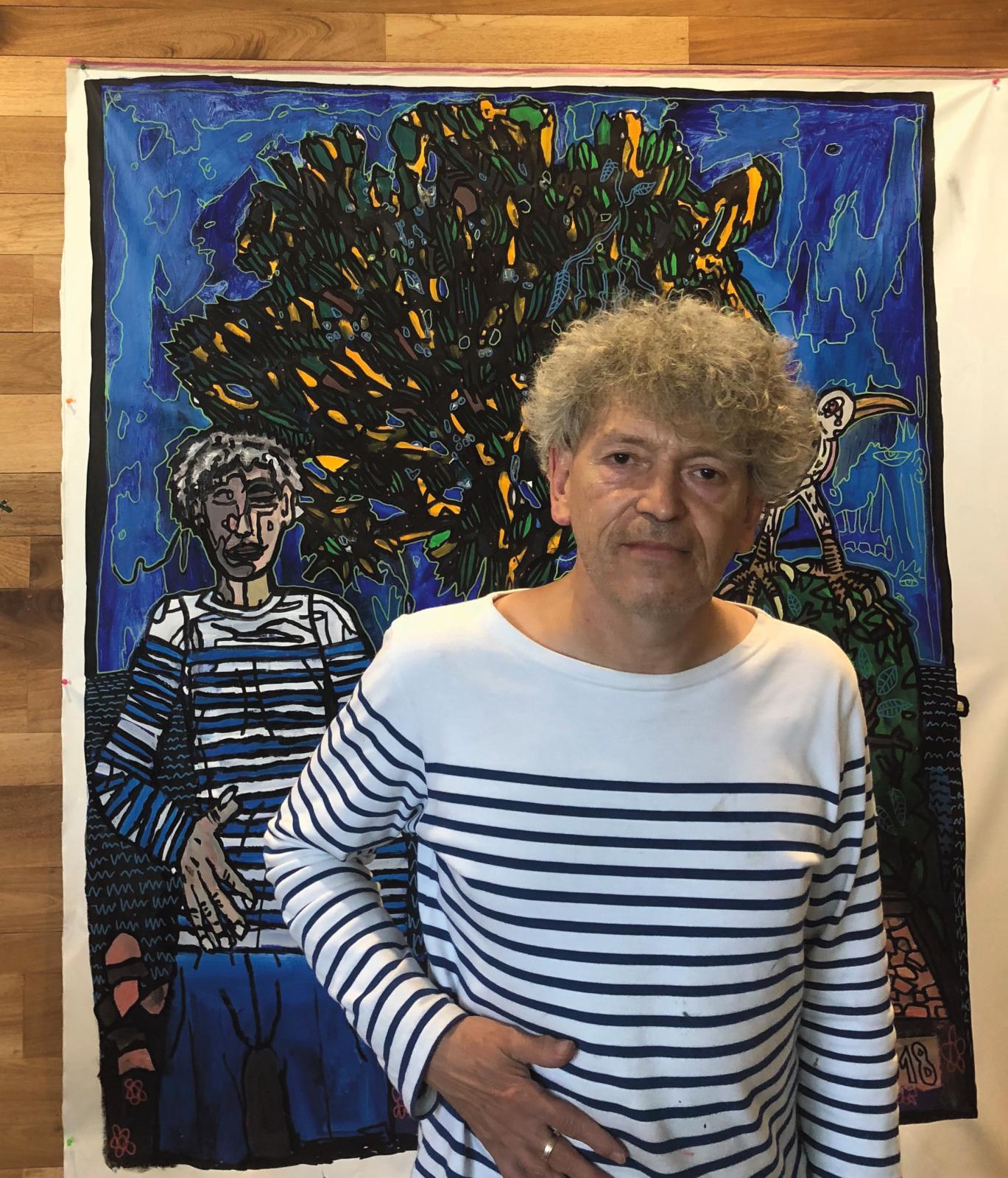 Robert Combas devant son autoportrait Le Ressenti, le dedans et le dehors.