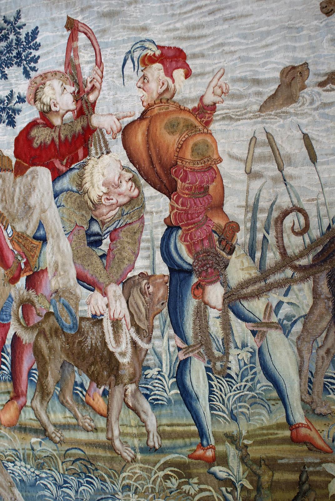 Le mois de septembre (détail), tenture dite des «Chasses de Maximilien», réédition tissée à la manufacture royale des Gobelins entre 1665 et 1673 pour