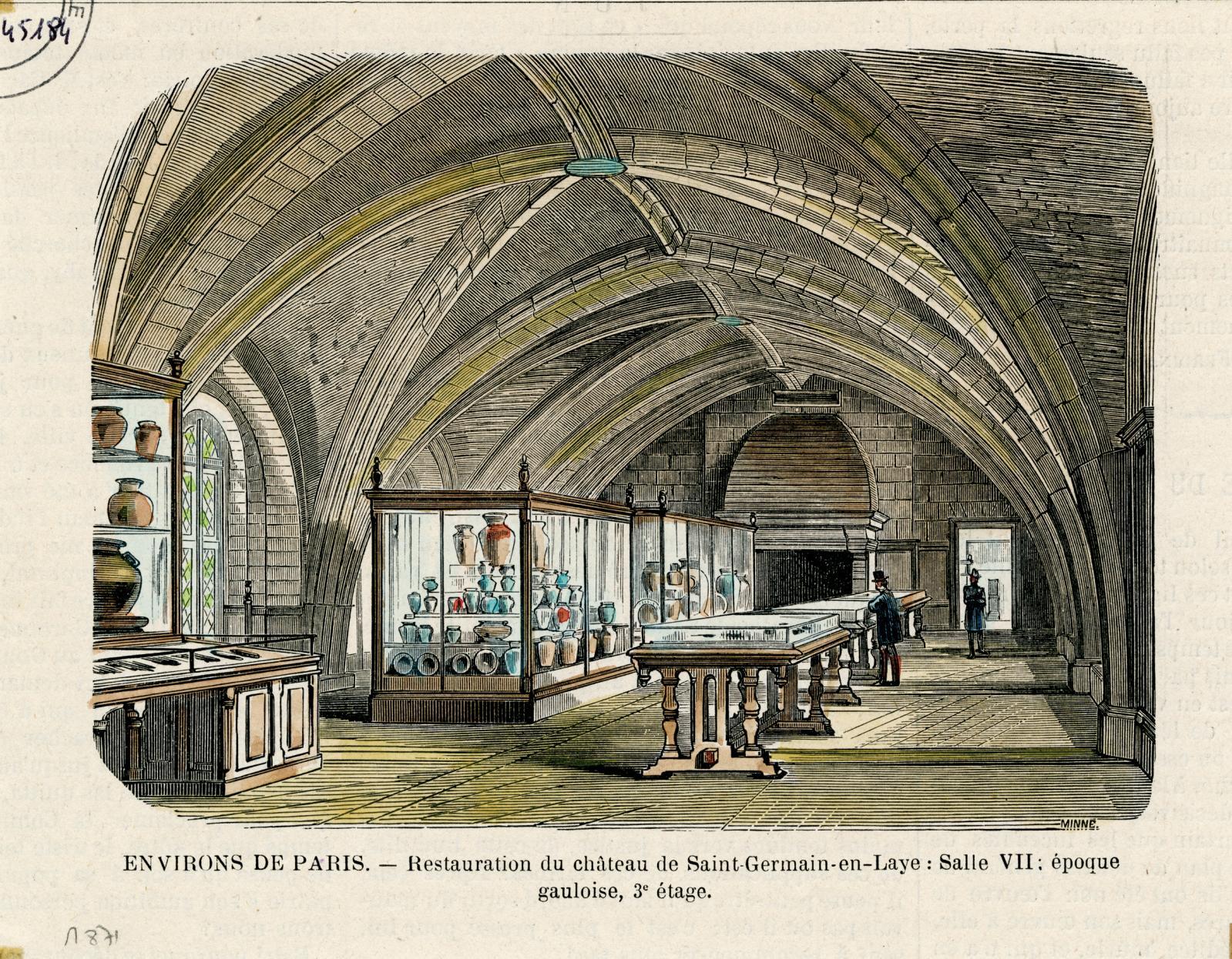 La Salle des fêtes du château de Saint-Germain, gravure de Fortuné Méaulle publiée dans Le Magasin pittoresque du 31octobre 1883. © Archives du MAN