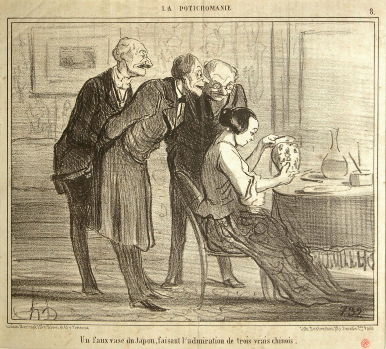 Honoré Daumier, Un faux vase du Japon, faisant l'admiration de trois vrais chinois, 10février 1855, lithographie.