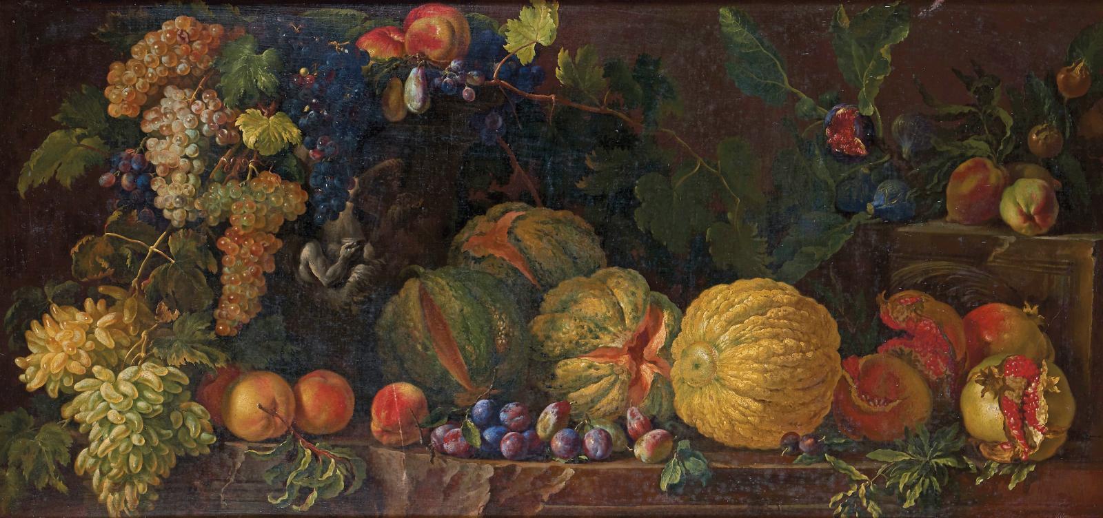 Entourage d'Abraham Bruegel (1631-1690), Nature morte de fruits, huile sur toile, 71x150cm. Provenance Bourgfontaine. Estimation: 6000/8000€