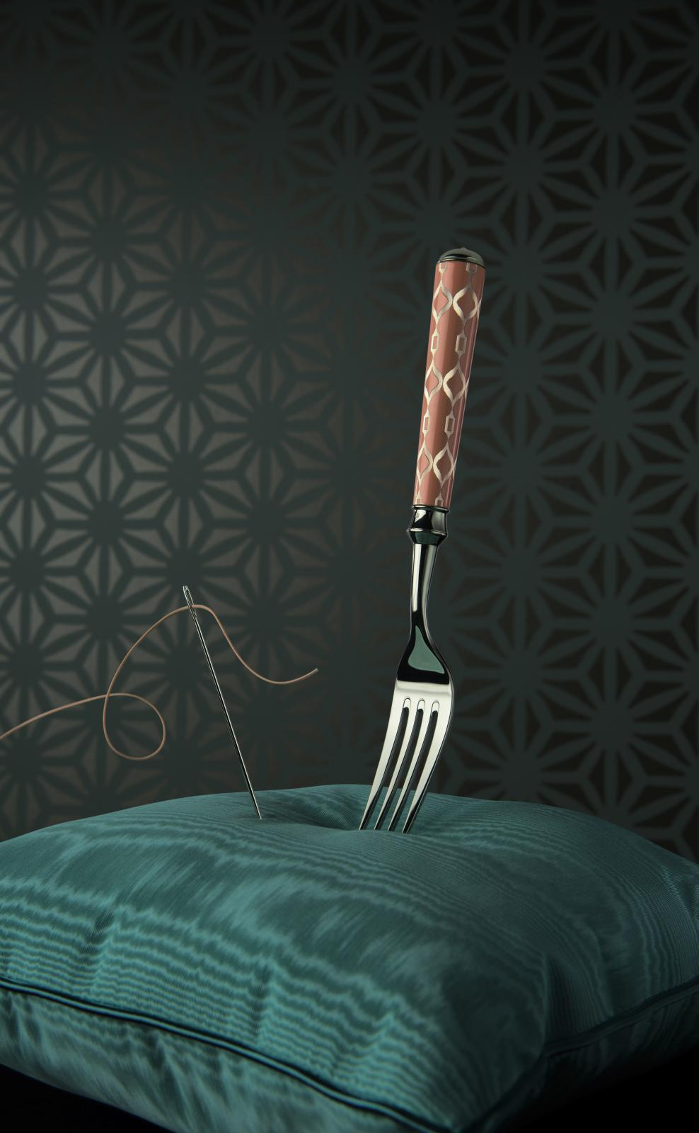 "Ercuis, a fork from the ""Panoplie"" collection (2017) with handles guilloched by Murelli."