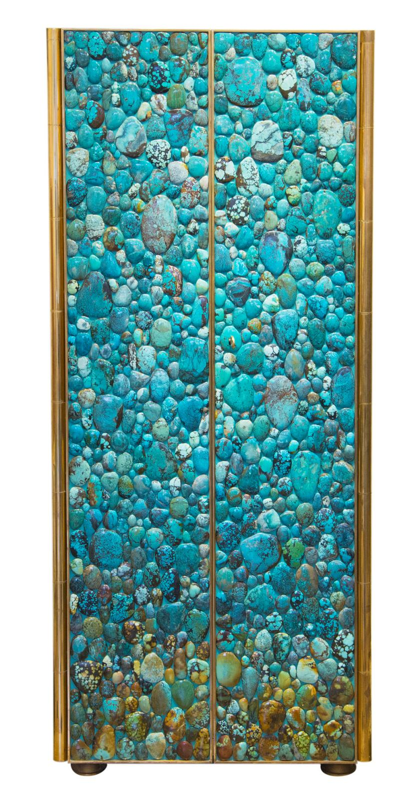 Kam Tin, France, 2014, turquoise cabinet, wooden structure covered with turquoise cabochons, brass feet and finishes, 161 x 67 x 50 cm. Maison Rapin.