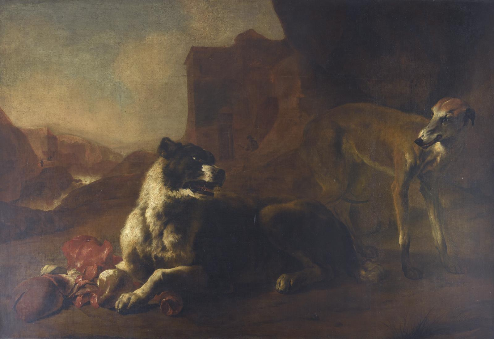 Jan Baptist Weenix (1621-vers 1660), La Raison du plus fort (Deux chiens se disputant des entrailles), 1649, huile sur toile, 136x205,5cm (détail).