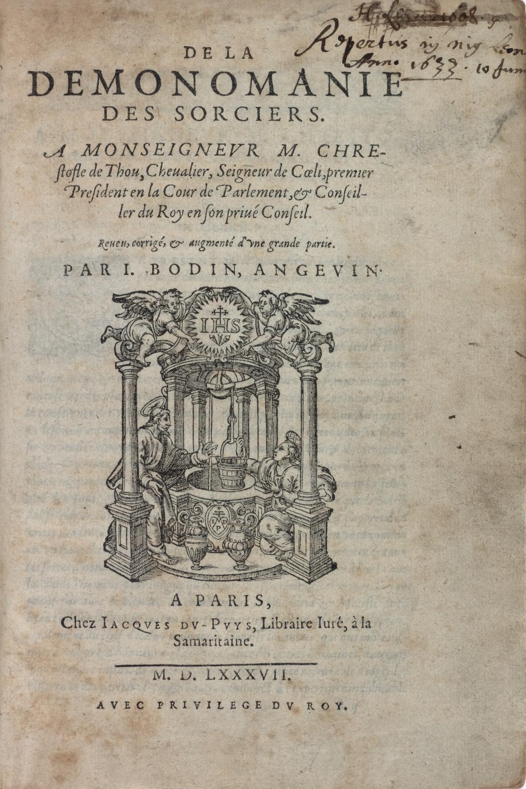 Jean Bodin (1529-1596), De la démonomanie des sorciers, Paris, Jacques du Puys, 1587, in-4°, demi-reliure ancienne, 7e édition, seule complète.Paris,
