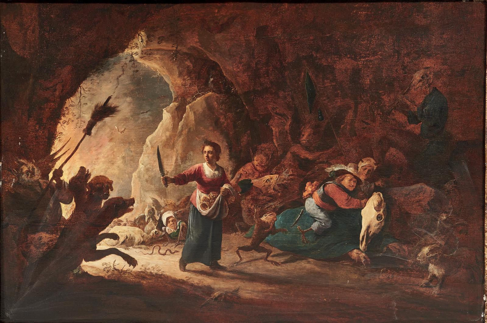 Cornelis Saftleven (1607-1681), Scène de sorcellerie, panneau de chêne, 58,5x84cm.Paris, Drouot, 12juin 2015. Pierre Bergé &AssociésOVV. M.Mill