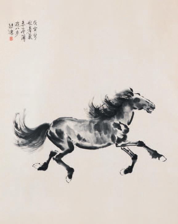 Xu Beihong (1895-1953), Cheval, encre et lavis sur papier daté de l'automne 1938 (date cyclique Wuyin), signé «Beihong» avec cachet rouge en haut à ga