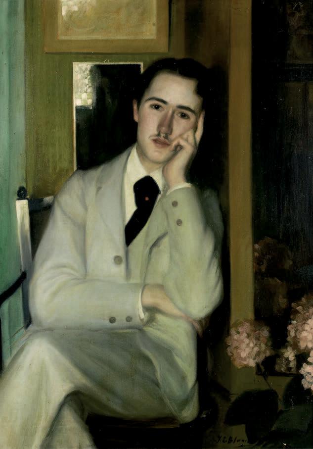 Portrait d'André Gide ou André Gide à 21ans, vers 1890, huile sur toile, 107x73cm (détail).Mercredi 20 mars, salle 1 – Drouot-Richelieu, à 13h30