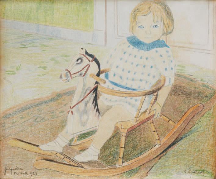 Léon Spilliaert (1881-1946), Portrait de Jacqueline Manteau à trois ans, 1923, crayons de couleur, 37,5x45cm (à vue)Mercredi 25 juin 2014, Salle 1