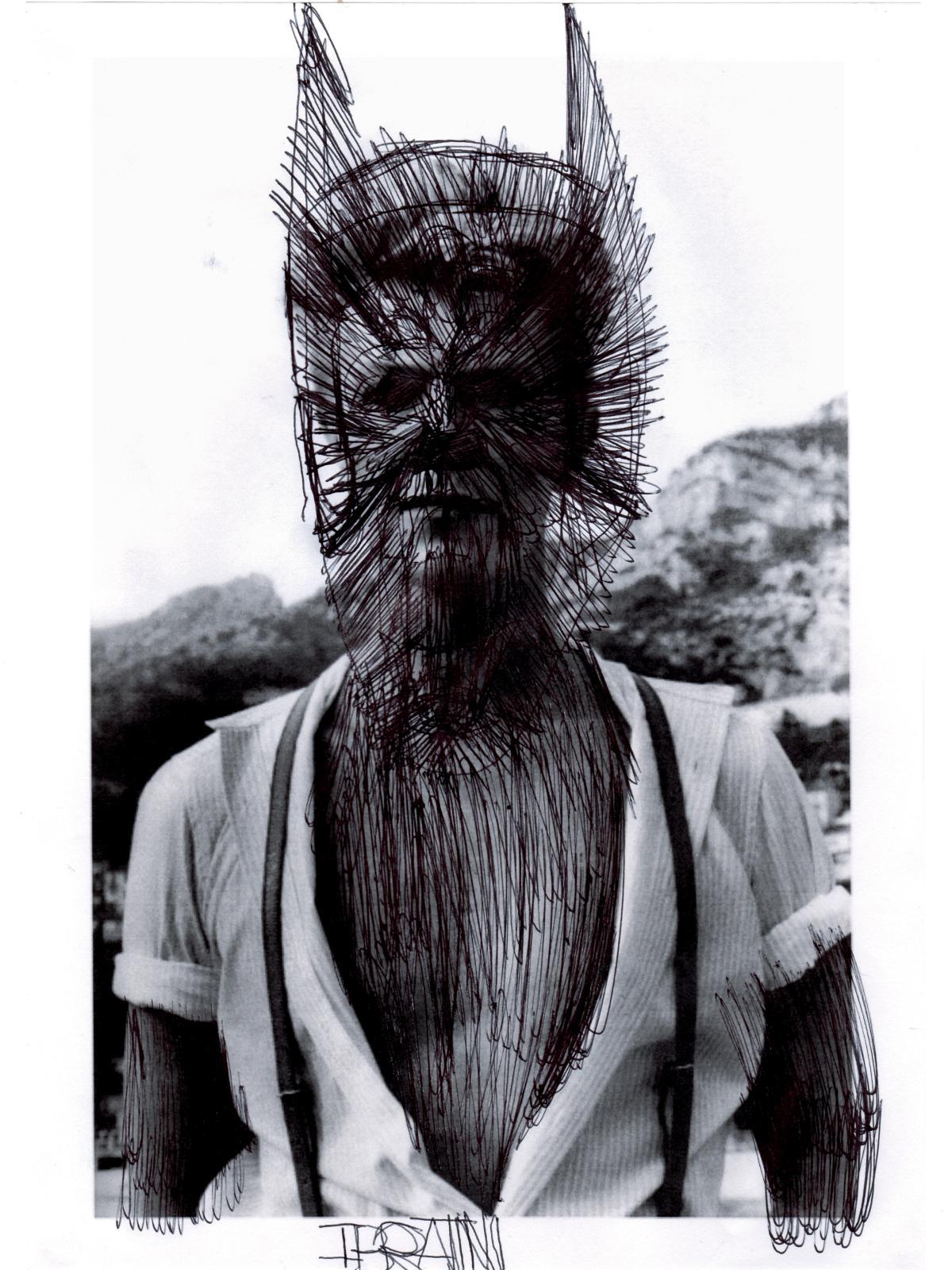 José Manuel Egea (né en 1988), Sans titre, 2016, stylo-bille noir sur impression photographique, 30x21cm. © Courtesy Christian Berst art brut