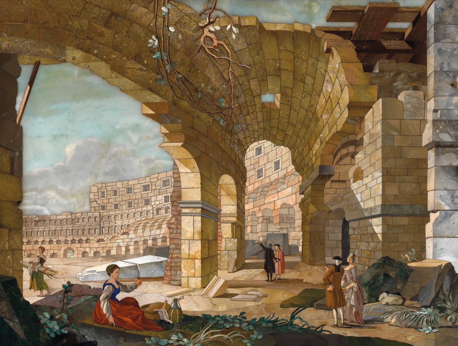 Le Colosseum, office des pierres dures, Florence, avant 1785, d'après une composition livrée par Antonio Cioci en 1775. Panneau commandé par le comte