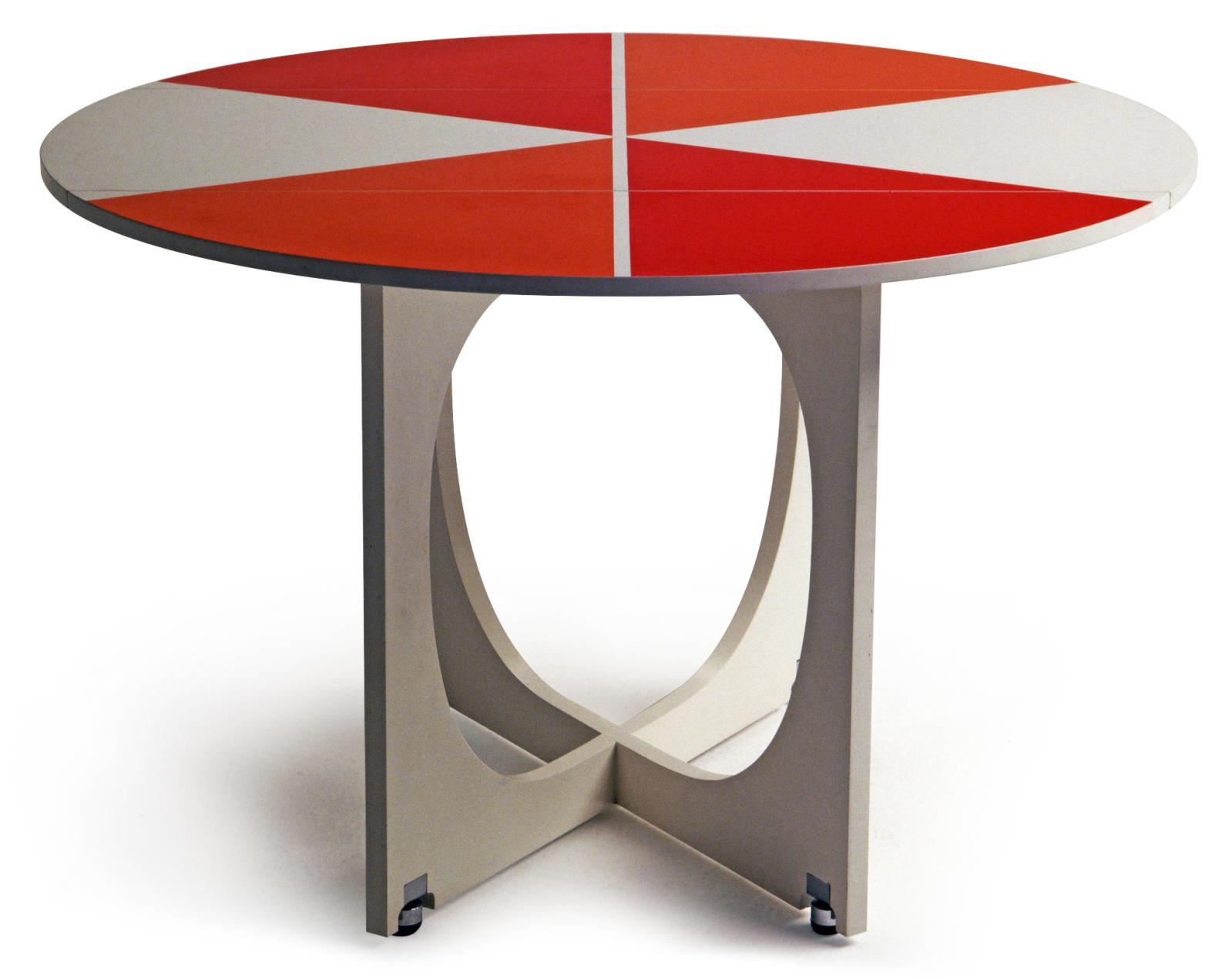 Table pliante Apta en formica, bois et laiton, 1970. Fabricant: Walter Ponti.