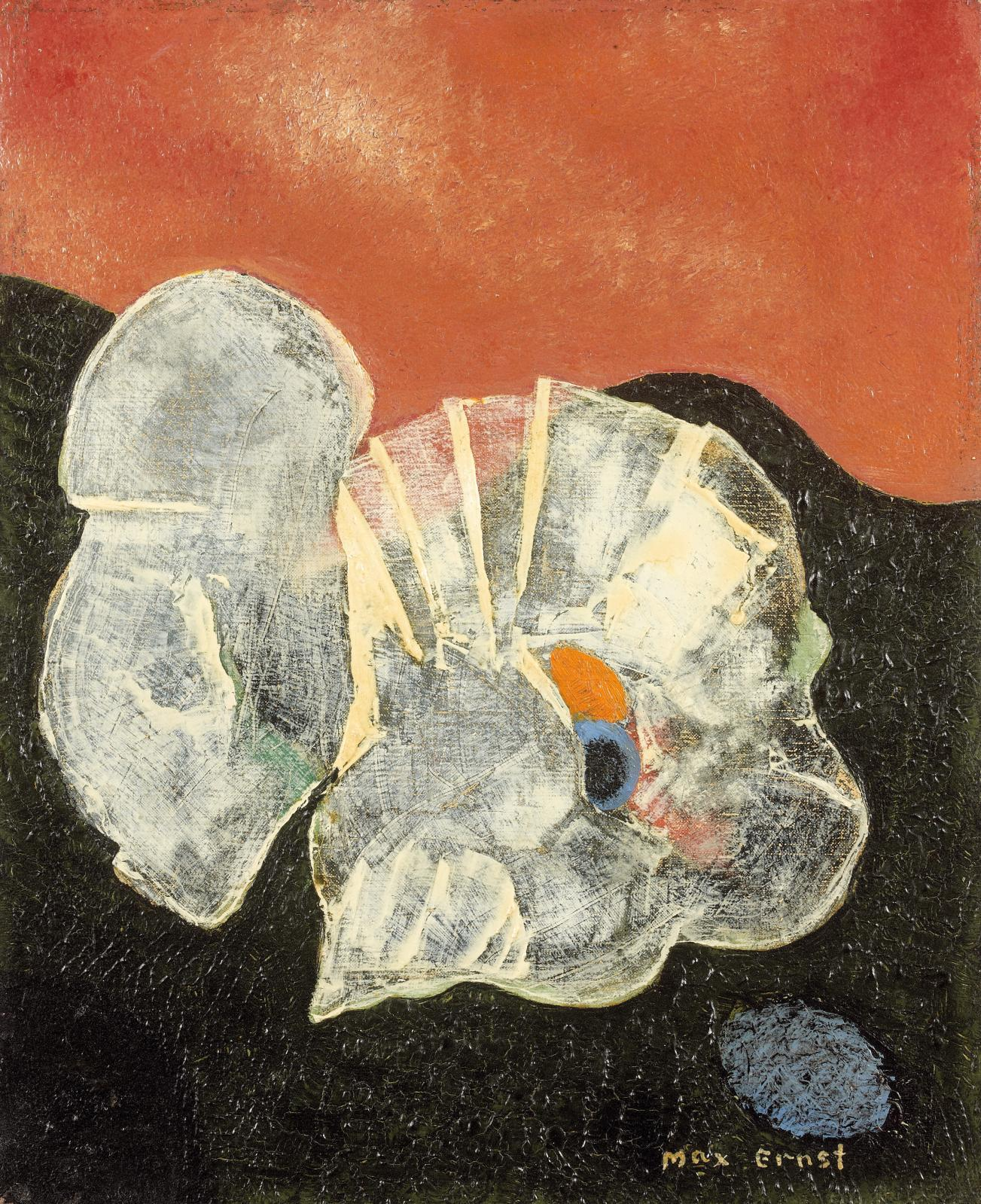 Max Ernst (1891-1976), Fleur et coquillage, huile sur toile, 27x21,8cm.