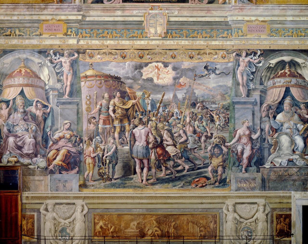 Salle de Constantin, au Vatican. Sur la droite, la figure de l'Allégorie de la Modération. © Musei Vaticani