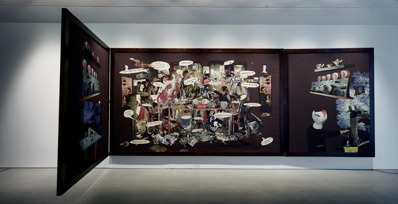 Diner Party, 2015, tapisserie, 262x866x8cm. courtesy de l'artiste, Galerie Nathalie Obadia (Paris/Bruxelles) et Cartier/Gebauer (Berlin)