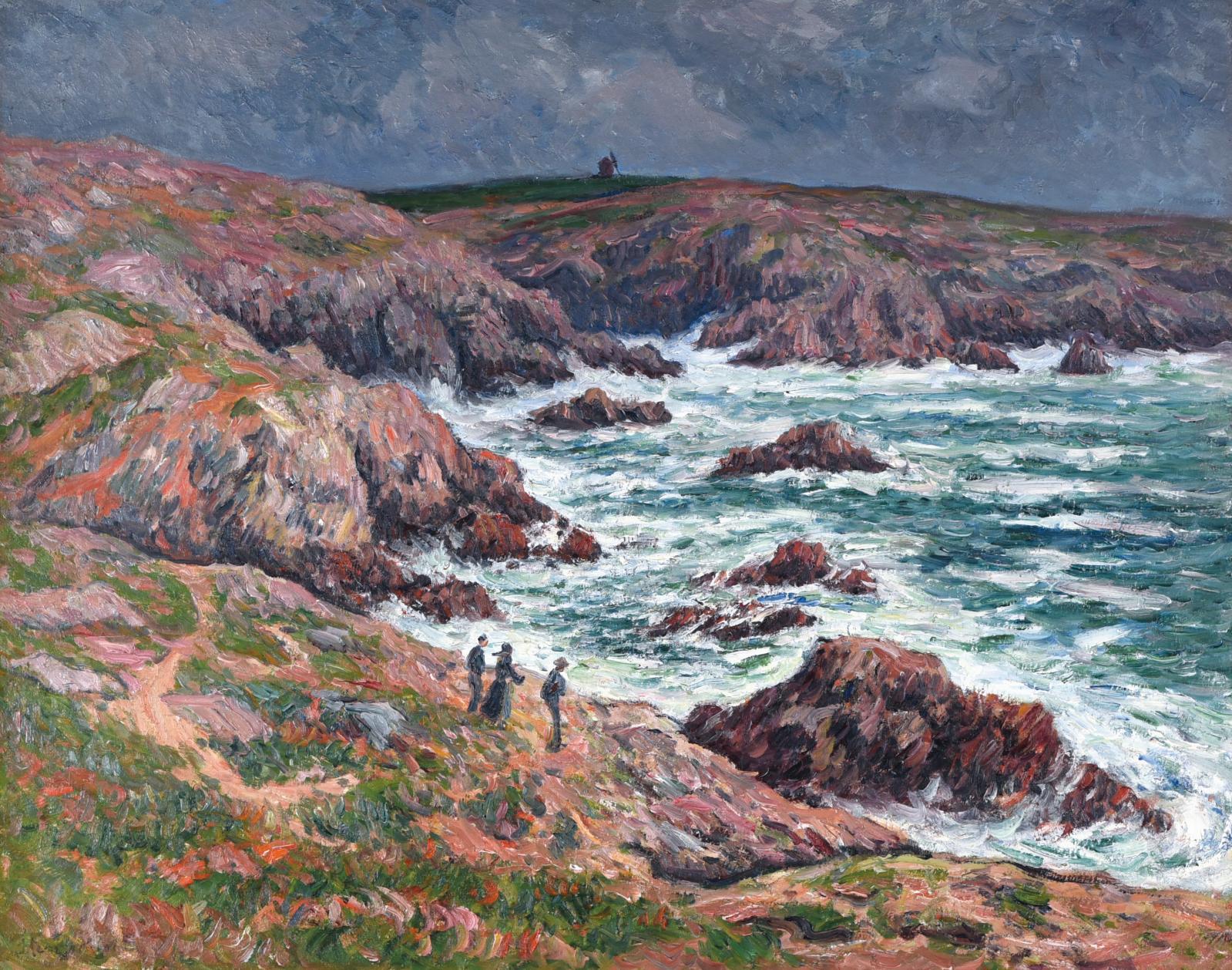 Henry Moret (1856-1913), n'a cessé d'arpenter les îles et les côtes de la Bretagne, et en particulier le littoral rocheux du Finistère. C'est là qu'il