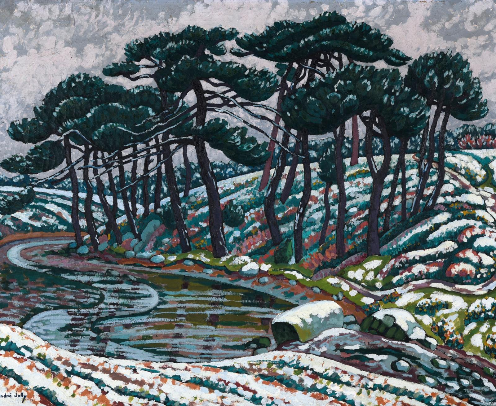 L'œuvre d'André Jolly (1882-1969) a été présentée au muséede Pont-Aven de mars à juin 2005. Sous le numéro34, on pouvait découvrir cette toile hivern