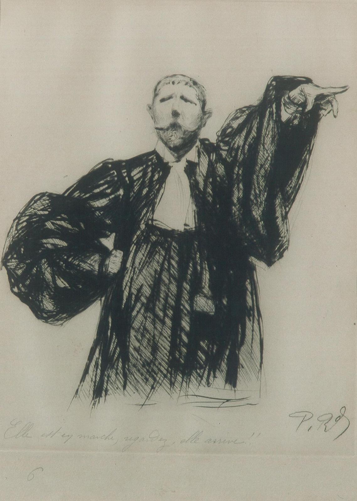 Paul Renouard (1845-1924), Elle est en marche, regardez, elle arrive!!, 1898, eau forte, 45 x 32 cm.