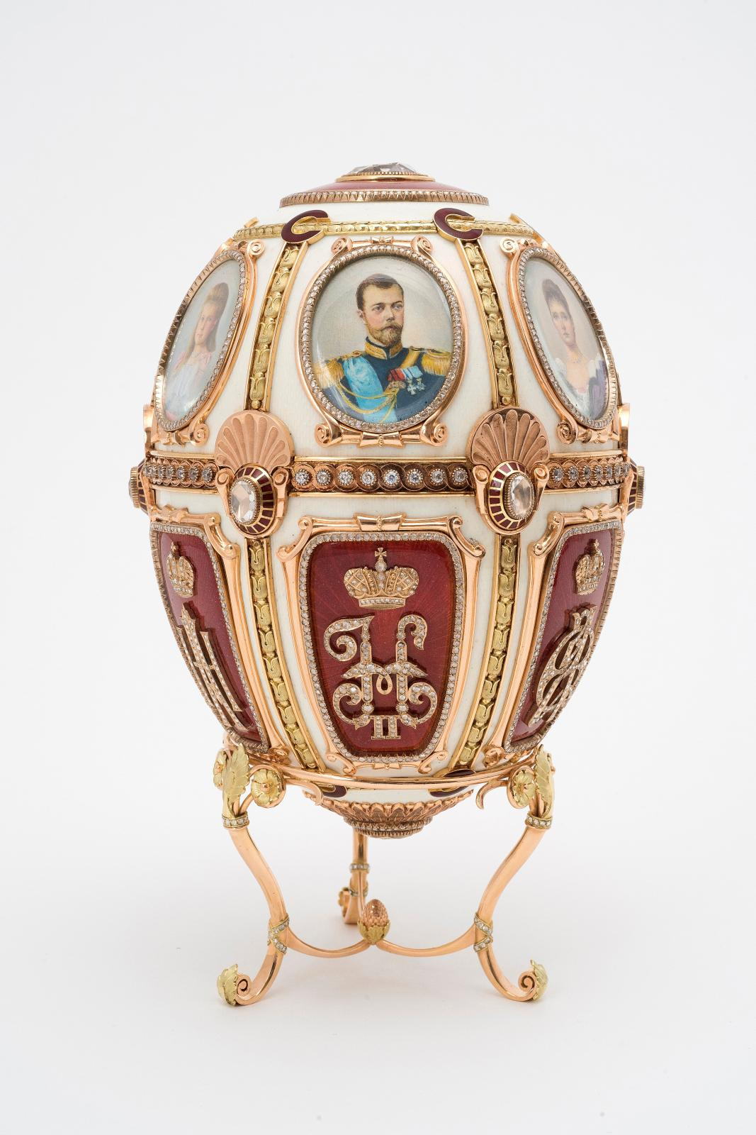"Fabergé company, workshop of M. Perxine and G. Vigstrem, St Petersburg, ""Jubilee Egg"", 1904, gold, diamonds, brilliants, enamel on guilloché backgroun"