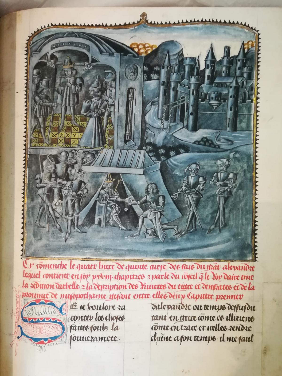 Quinte-Curce (Iersiècle apr. J.-C.), Faiz et Conquestes d'Alexandre, traduction de Vasque de Lucène. Manuscrit enluminé sur papier et parchemin, 16 g