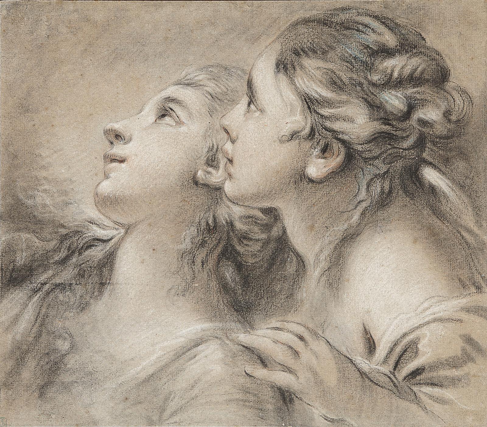 François Boucher (1703-1770), Têtes de deux jeunes femmes de profil, pierre noire, sanguine, pastel et rehauts de blanc sur papier gris, 27x32cm (d