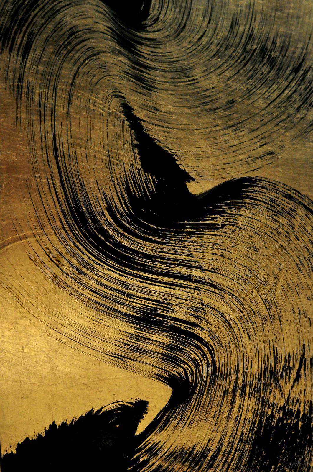 Jardin Hakusasonso de Kyoto, 2/4 Les Pierres (détail), feuilles d'or brunies et pigments noirs, 143x43x4cm. © Cecile-Guyenne