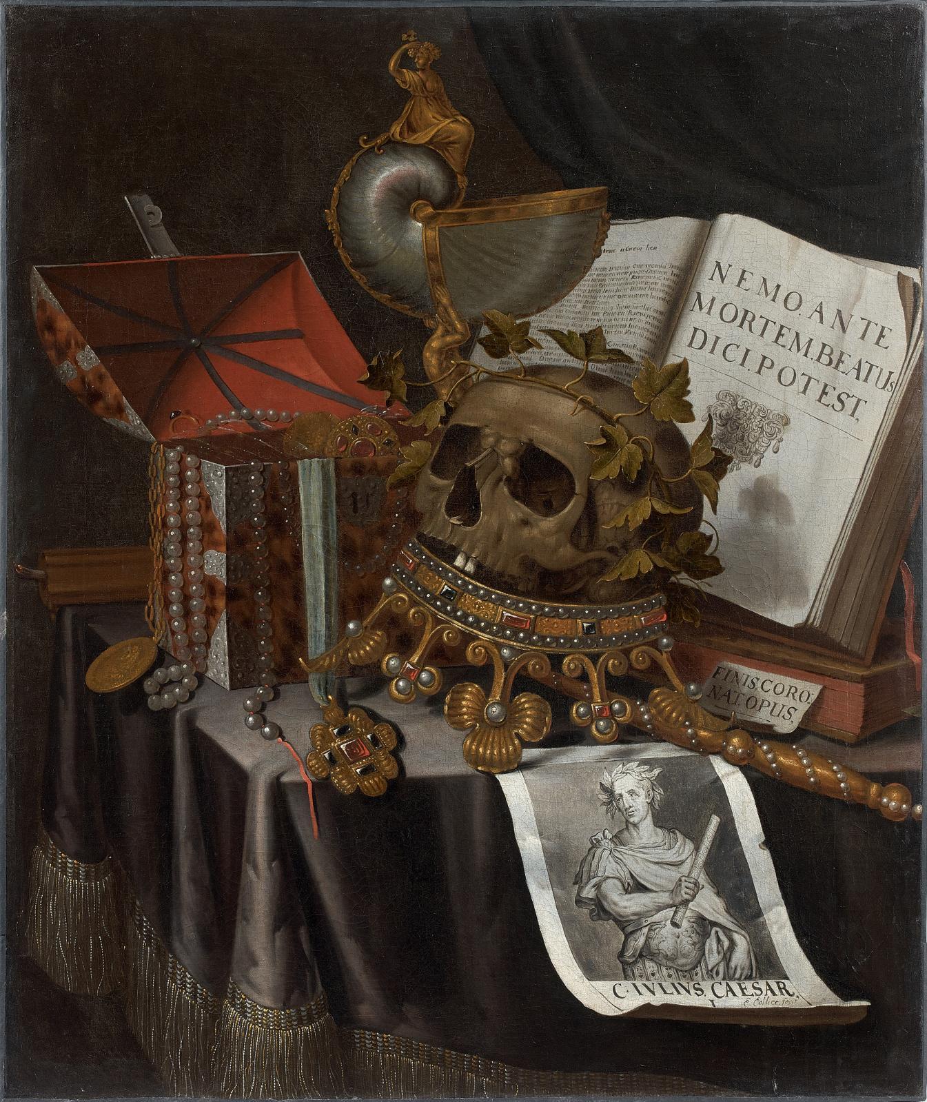 Edwaert Collier (vers 1640-1707), Vanité à la couronne renversée, au sceptre au coffret à bijoux et au nautile, huile sur toile, 74x102cm. Paris, D