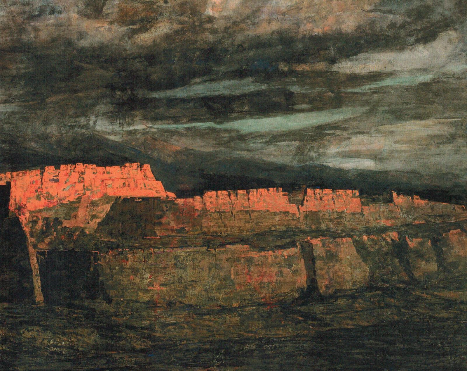 Hou Liming, Les Fortifications anciennes de Subash, 2010, peinture aux pigments fins, 130x195cm. ©Hou Liming