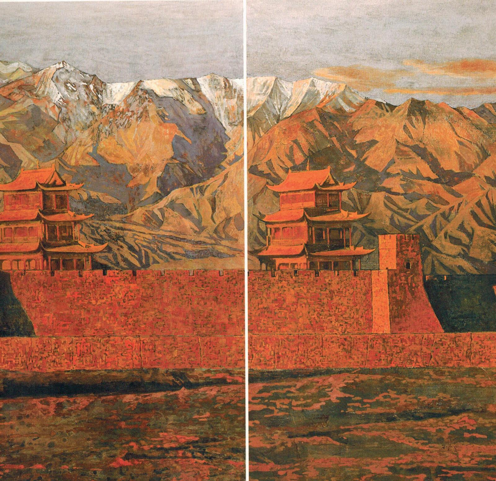 Li Lin, Passe de Yu Guan, 2010, peinture au pigment fin, détail d'un triptyque, 65x120cm. ©Li Lin
