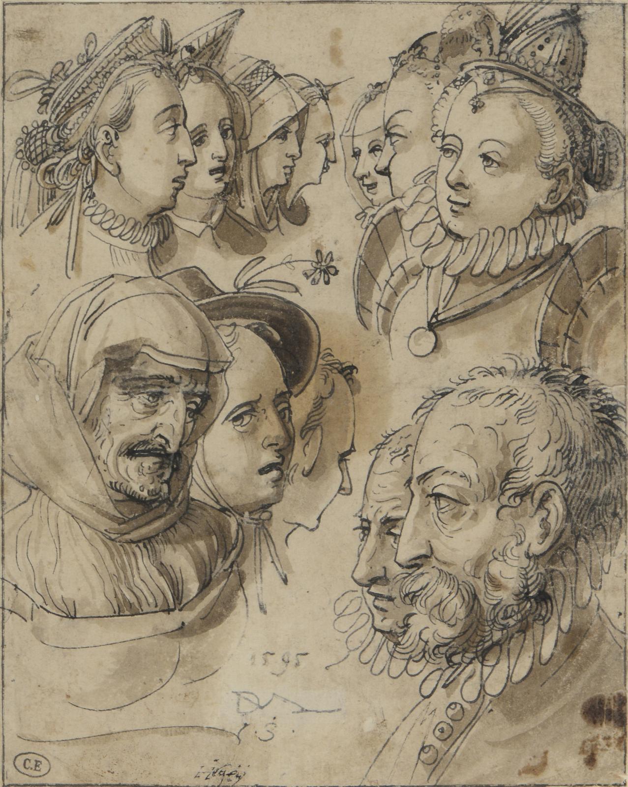 Daniel Lindtmayer, Étude de têtes, plume et encre noire, lavis brun, traces de filigrane Ravensbourg, signé avec monogramme «DLM/VS», daté «1595», 18,