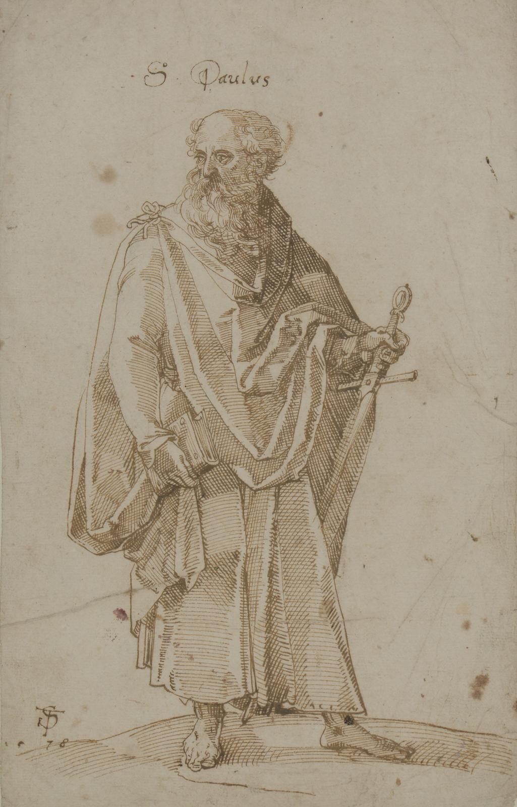 Tobias Stimmer (1539-1584), Saint Paul, plume et encre brune, signé avec monogramme et daté «TS78» et inscrit «SPaulus», 30,5x19cm. Estimation: