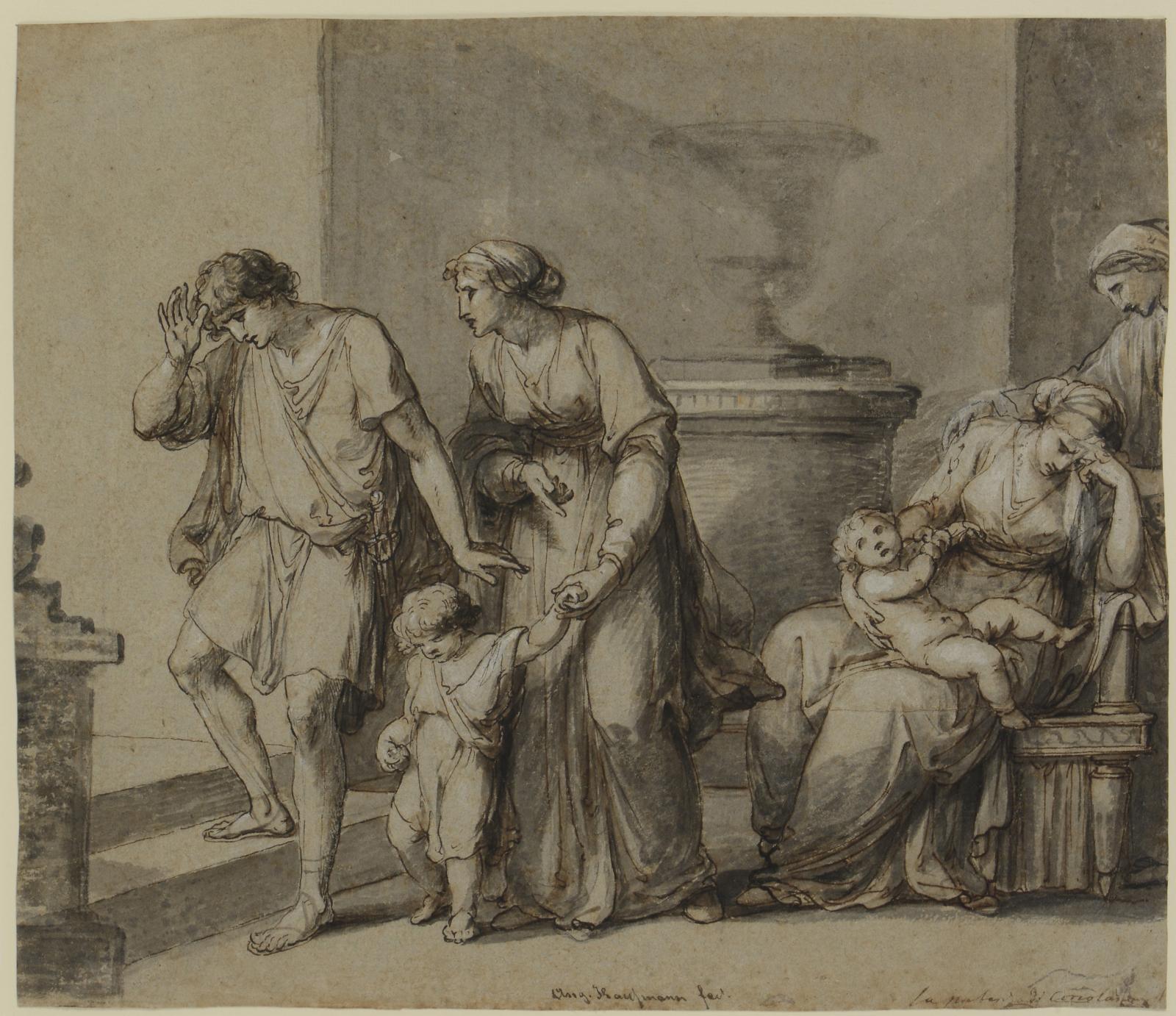 Angelika Kauffmann (1741-1807), Coriolan quitte sa famille (?), craie noire, plume et encre brune, lavis gris, rehauts de blanc, sur papier gris-brun,