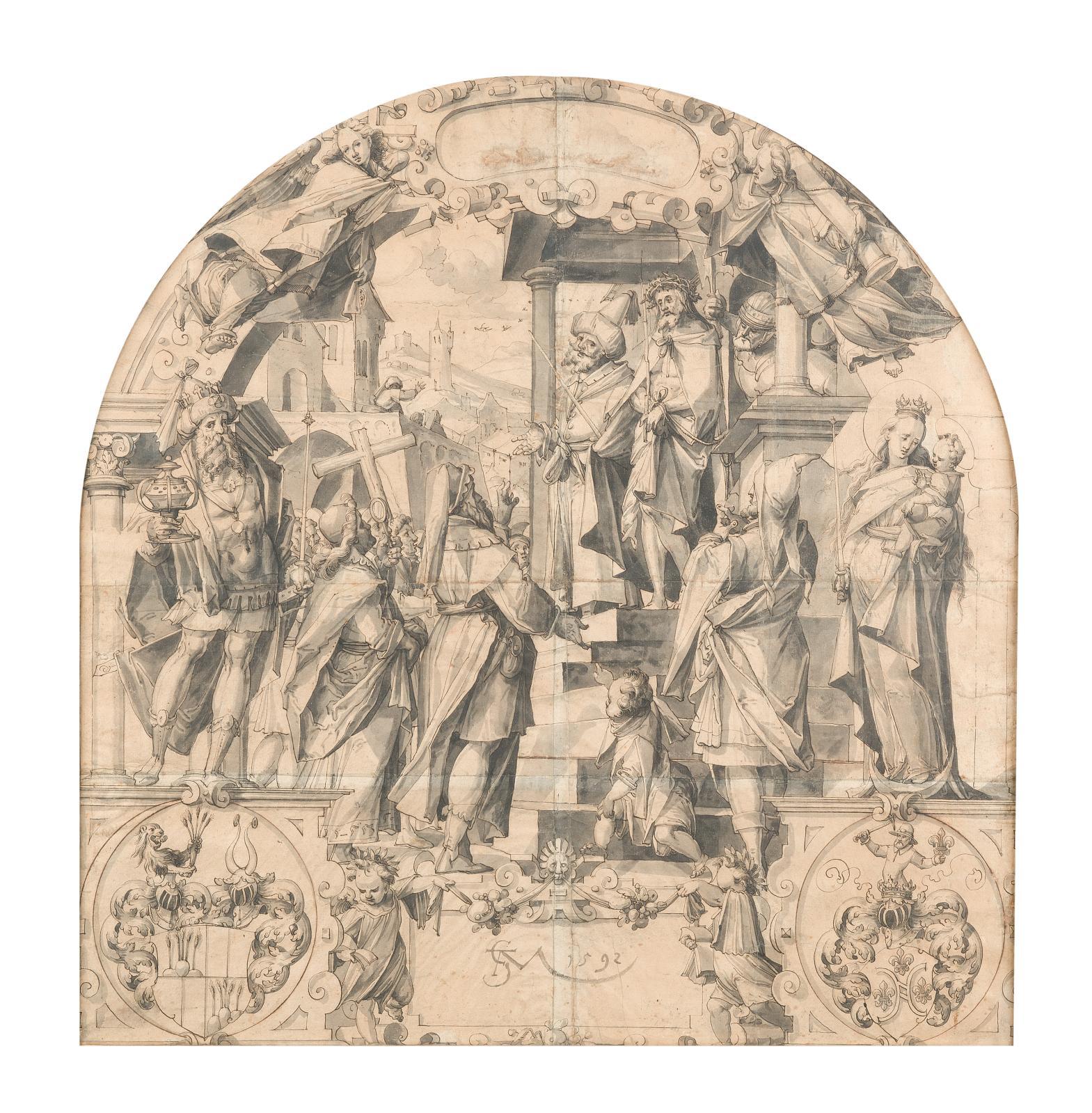 Christoph Murer (1558-1614) Ecce Homo, le Roi Gaspard, la Vierge et l'Enfant et les armes des familles Kundig et Pfyffer: étude pour un vitrail, sign