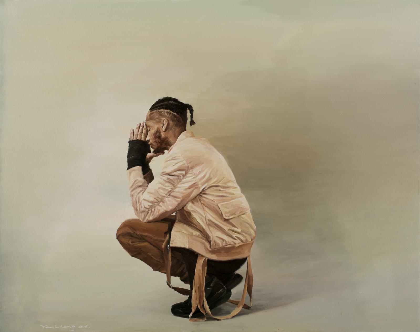 Yan Heng (né en 1982), L'Homme accroupi, 2016, huile sur toile, 120 x 150cm. Courtoisie de l'artiste et galerie Sator