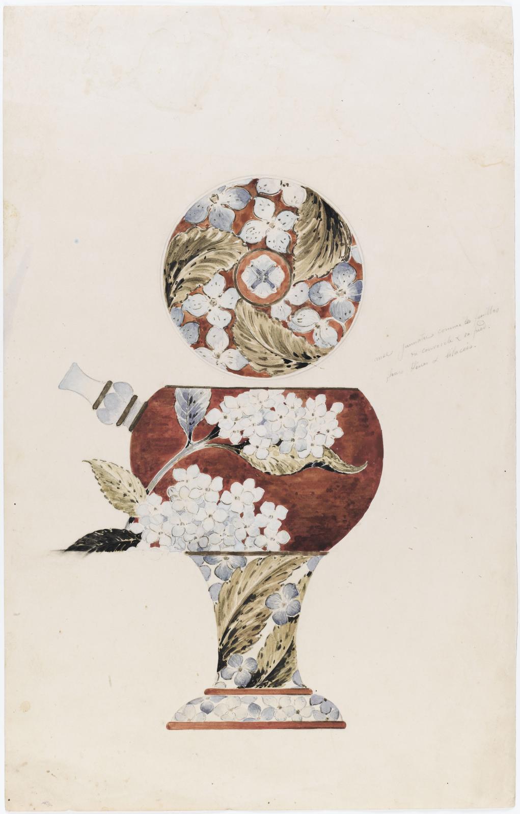 Émile Gallé, «vase aux liliacées et son couvercle», crayon, aquarelle et rehauts d'or, 44x 27,9cm, musée d'Orsay. © RMN-Grand Palais (musée d'Orsay)