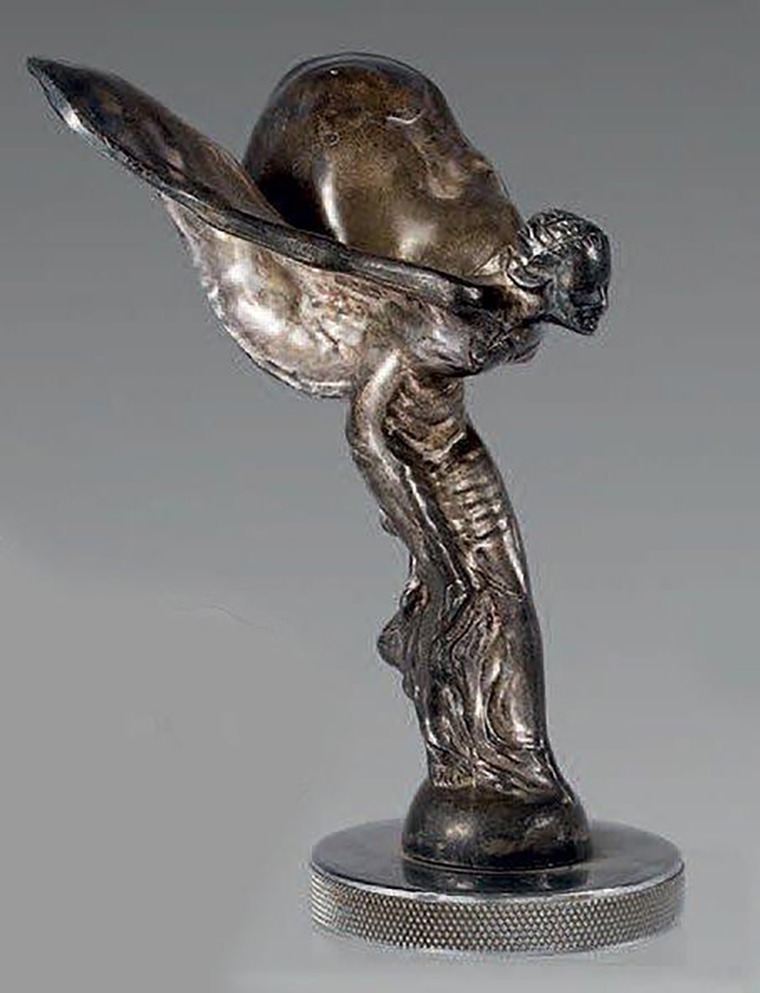 €496 Spirit of Ecstasy mascot, designed 1911 by sculptor Charles Sykes for Rolls Royce, silver-plated Babbitt metal, remounted on the cap, h. approxim