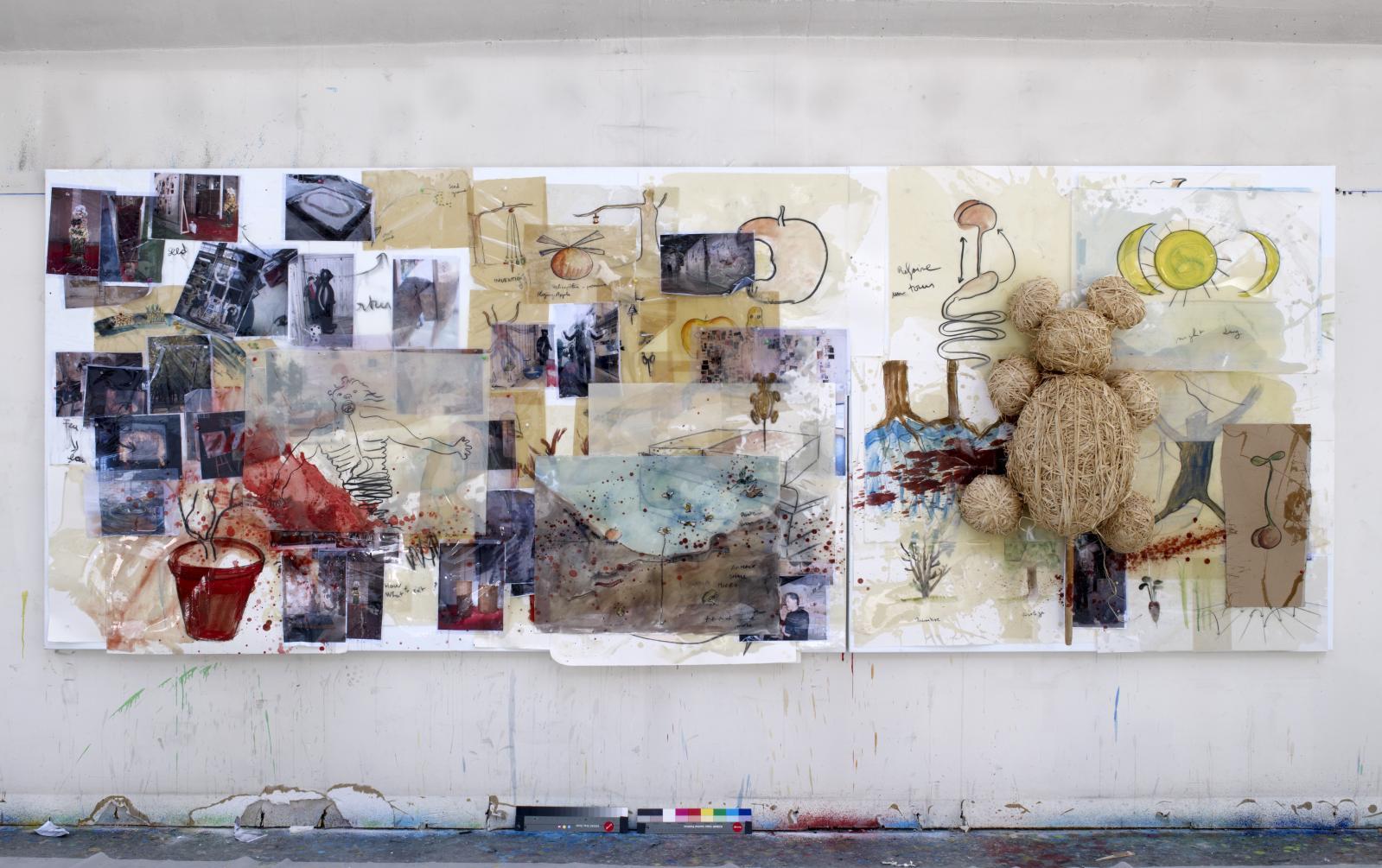 Peinture homéopathique no27 (Je s'aime), 2008, aquarelle, fusain, résine époxy, peinture à l'huile, papier collé, photographie, colle de peau de lapi