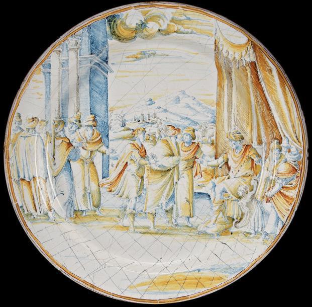 Faenza, vers 1580-1600. Plat à décor a compendiario de Joseph interprétant les songes de Pharaon, diam.47cm.Drouot, 6février 2012. Pescheteau-Badin